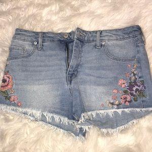 Light wash jean shorts